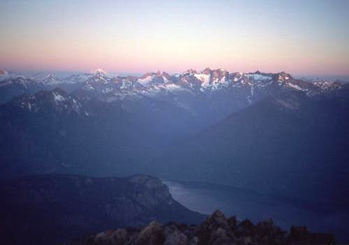West from the summit at dawn....