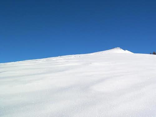 Skiing toward Mount Zerbion...