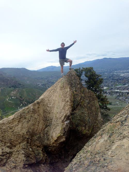 Josh Lewis on top of the rock