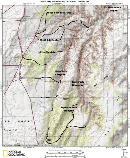Bluejohn Canyon Map
