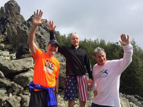 2015 Si of Relief Climb for Time top finishers (left to right): Mike McQuaid (3rd overall), Peter Erickson (1st overall), Jim Sheehan (2nd overall).