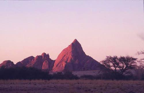 Spitzkoppe in the sunset;...