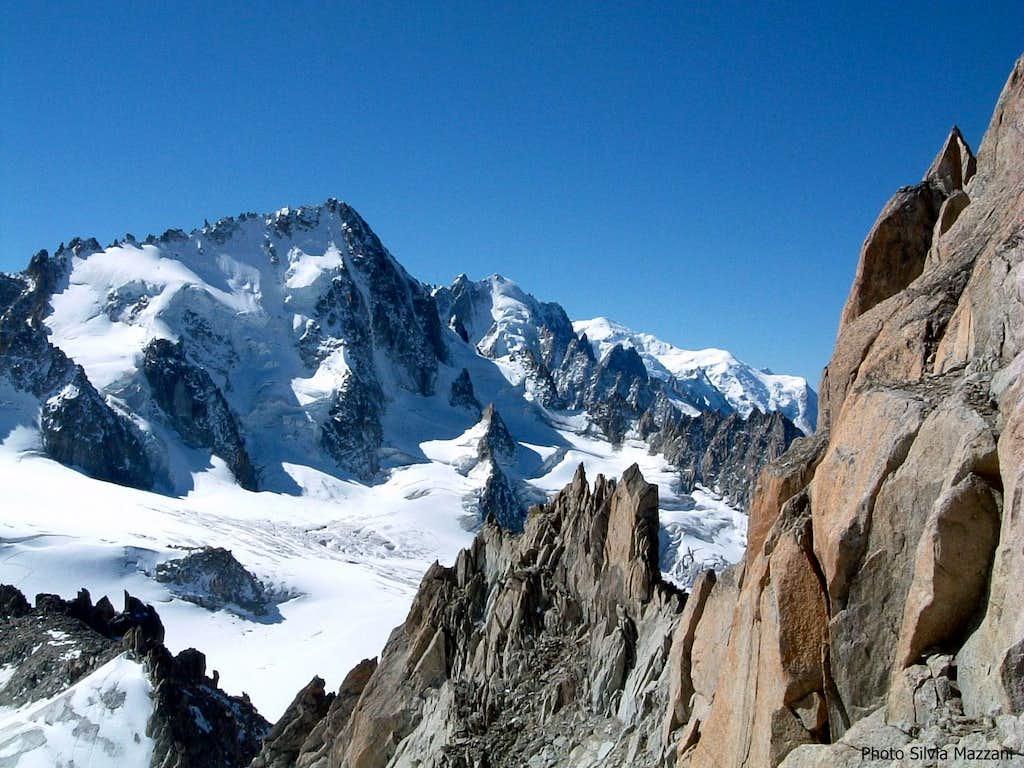Aiguille du Chardonnet and Mont Blanc on background