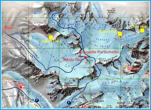 Aiguille Purtscheller map