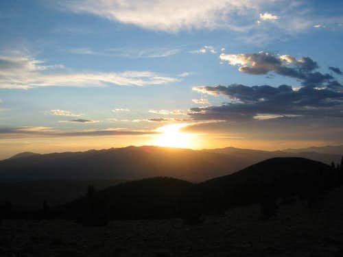 Sunset over Wheeler Peak as...