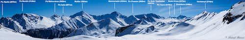 Labelled Samnaun Group Panorama: Its highest peaks
