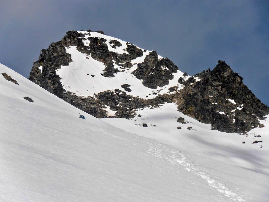 Reynolds summit block with snow