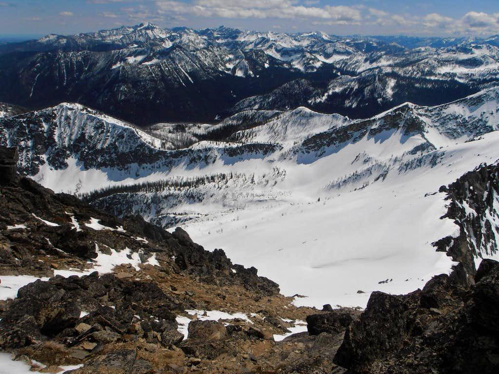 upper basin from summit scramble