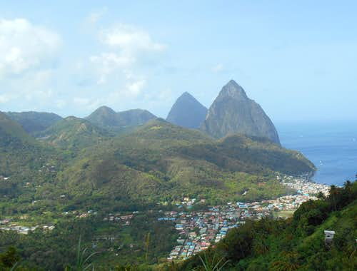 The Pitons and Soufrière
