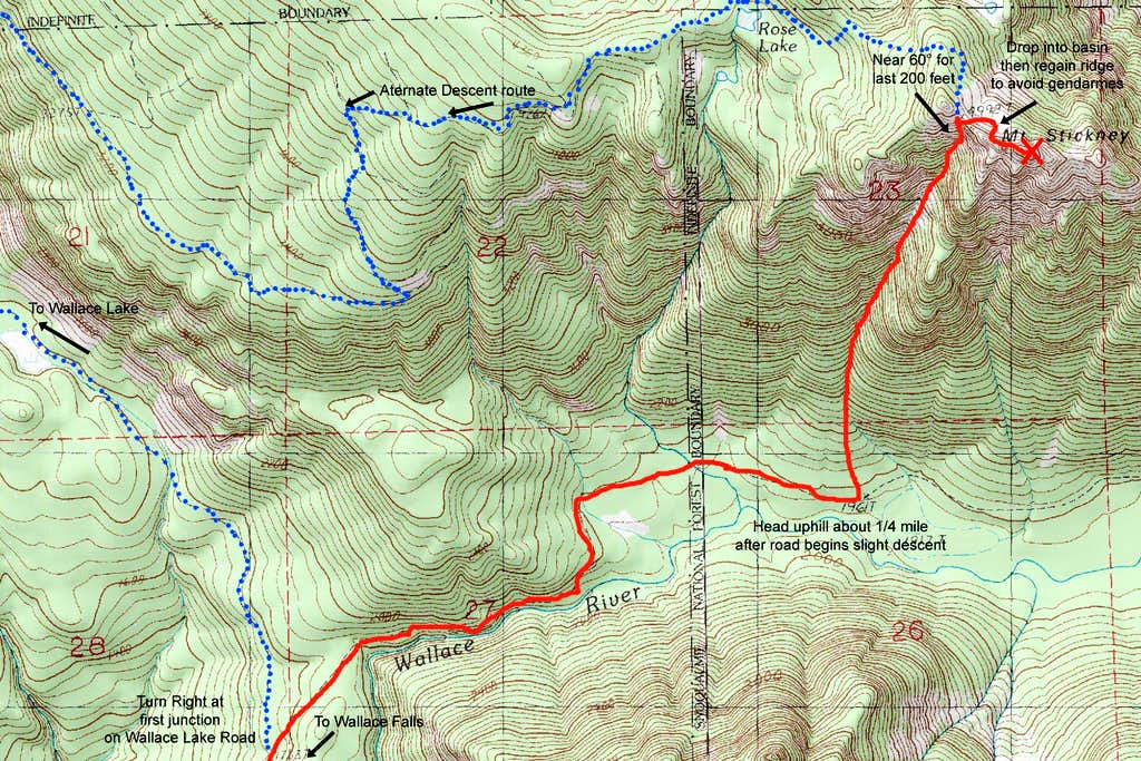 Stickney couloir route map