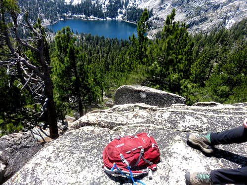 My pack and Frog Lake from Frog Lake Peak