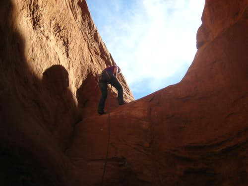 Jayme Rappelling the big drop in Buck Canyon