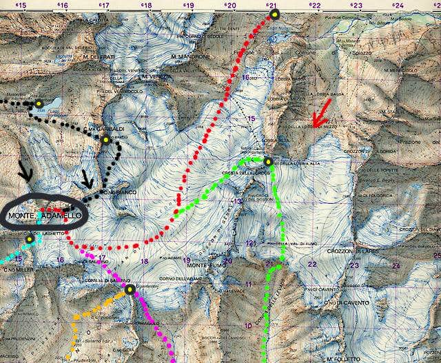 The routes to the Monte...
