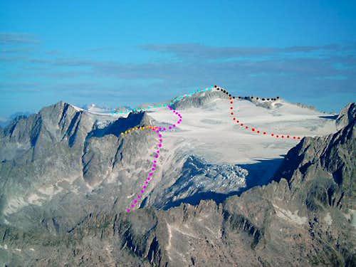 The Monte Adamello routes...