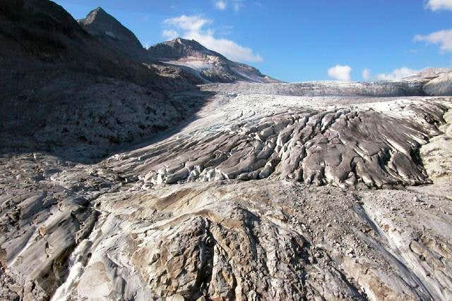 The tongue of Adamello glacier.