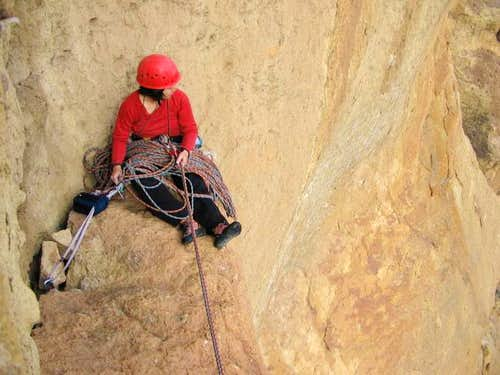 Shirley belaying me from a...