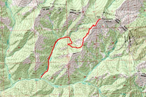 Map of the Route up Miller Peak