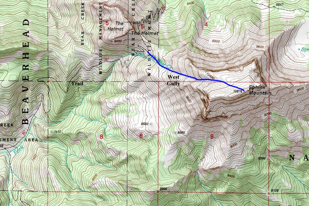 Sphinx Mountain Route Map
