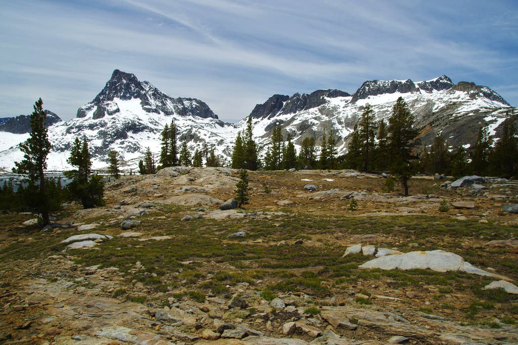 Banner Peak (left), North Glacier Pass (center), and Mount Davis (right)