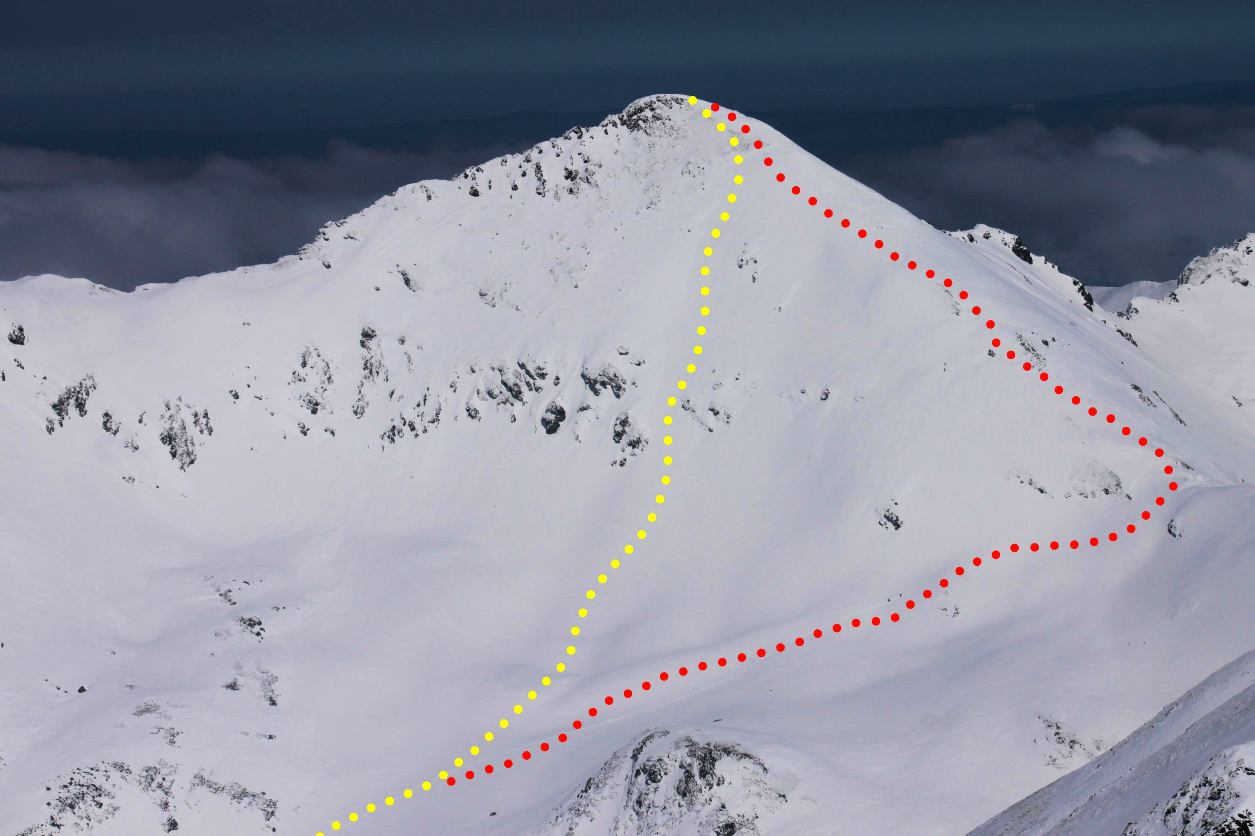 Skiing down the western face