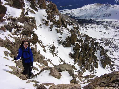 Brad partly up the couloir....
