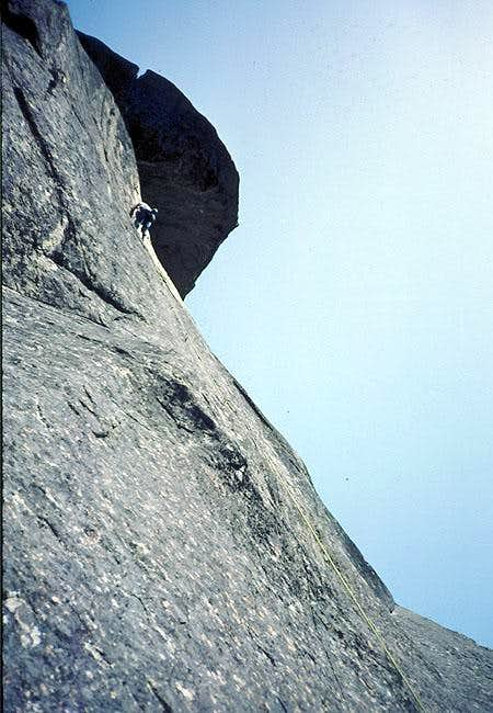 Climber heading for the Roof...