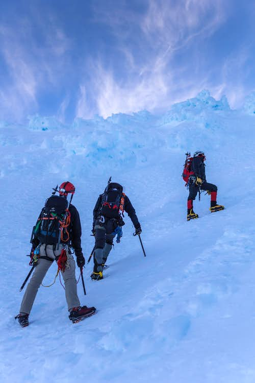 Resting towards the top of the couloir