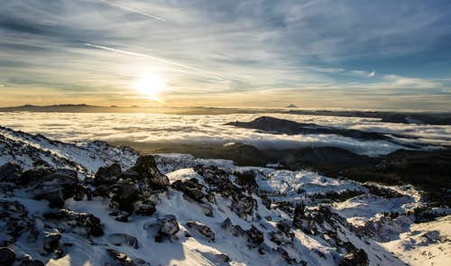 Sunrise while climbing