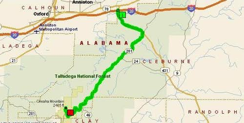 A map from I-20 Exit 191 to...