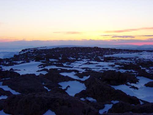 Sunset on the summit of Longs...
