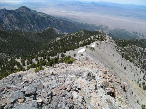 looking down west ridge of Currant