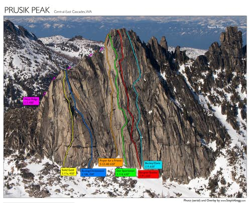 Routes on Prusik Peak