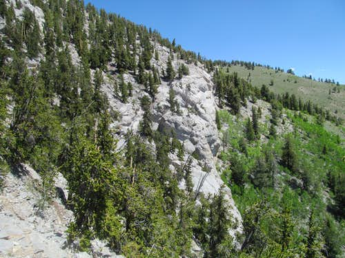 cliffs along the lower ridge
