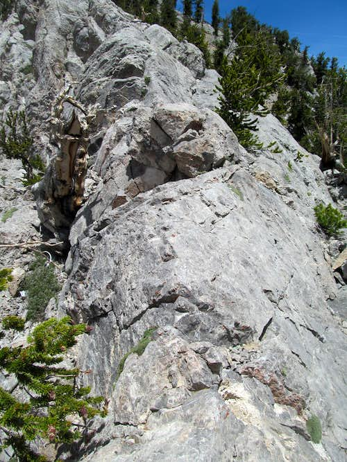looking back up the crux