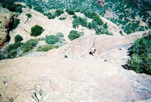 Climbing up the rock slabs...