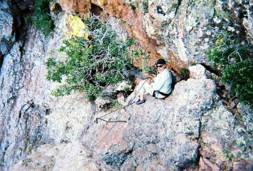 The belay point on the ledge...