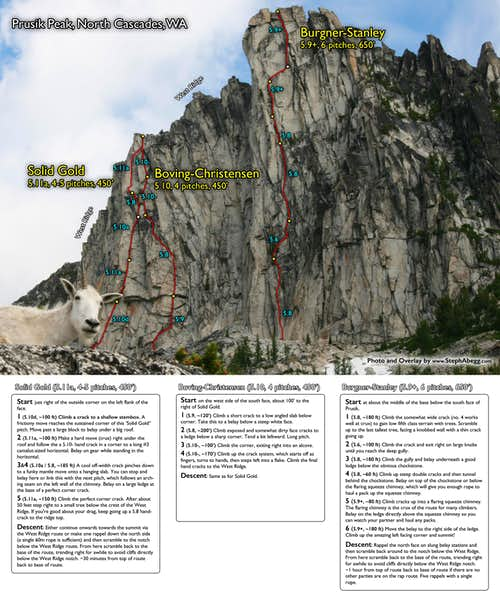 Route Overlays Prusik Peak (Solid Gold Boving Christensen Burgner Stanley)