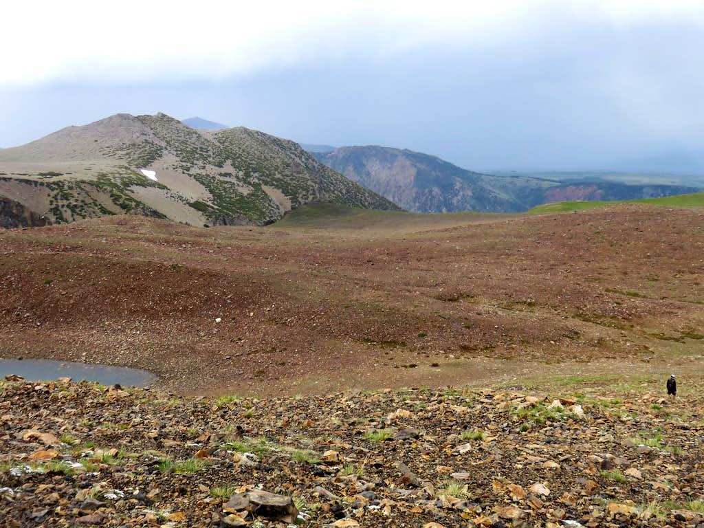 Descent route down the northeast ridge