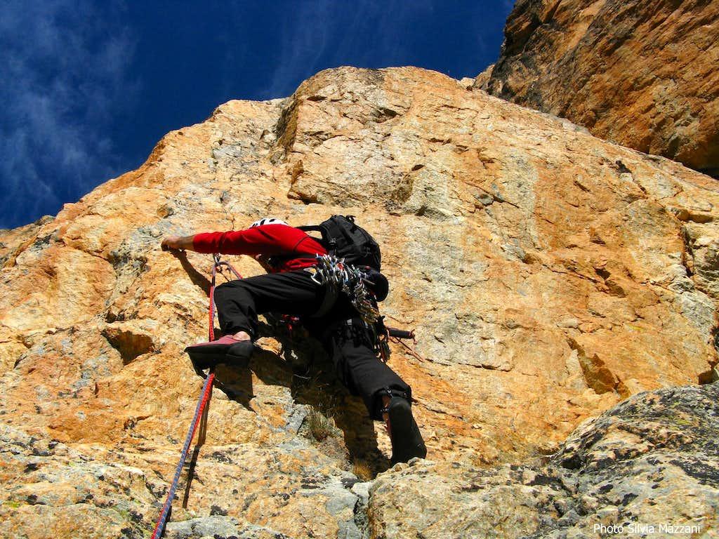 Red quartzite on Marmottes Givrées