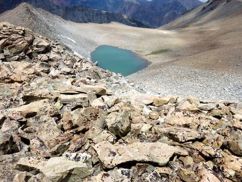 View down to the lake just below Mount Warren and Warren Fin