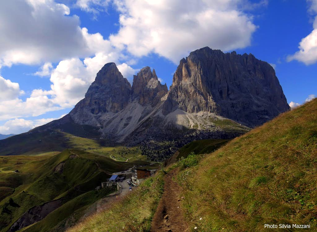Sella Pass and Sassolungo Group seen from the approach trail