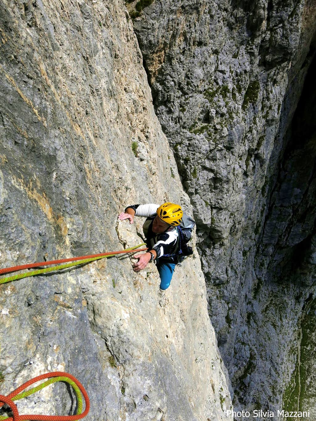 Exciting climb on Delenda Carthago sixth pitch