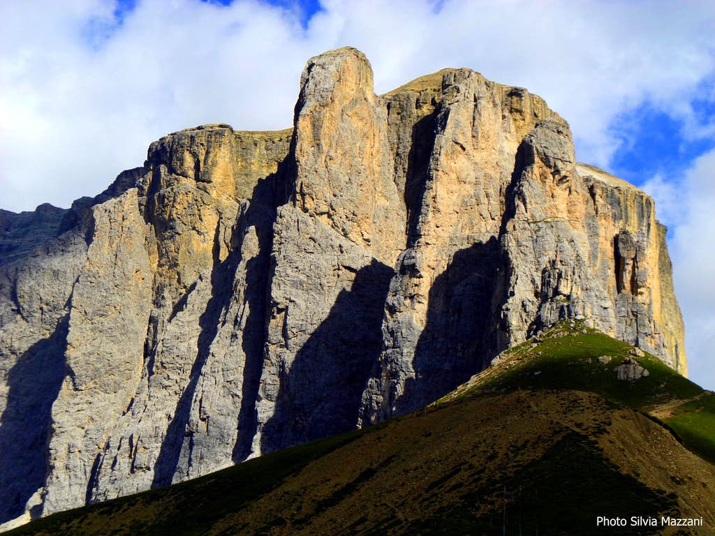 Sella Towers seen from the pass