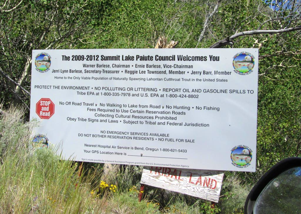 Sign at Summit Lake area
