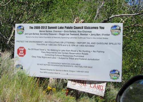 Sign at Summit Lake area
