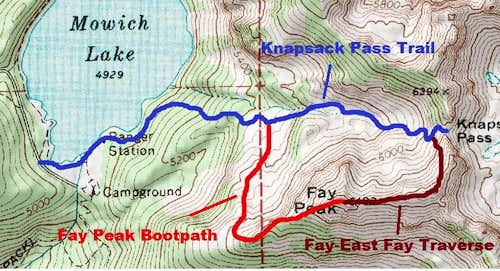 Map of the Routes up East Fay Peak