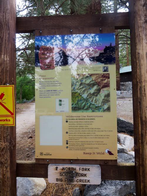 Big Pine Creek Trailhead sign