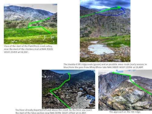 climber's diagram for standard SW Ridge route