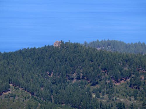 Zoom shot of Captain Pomin Rock and Lake Tahoe