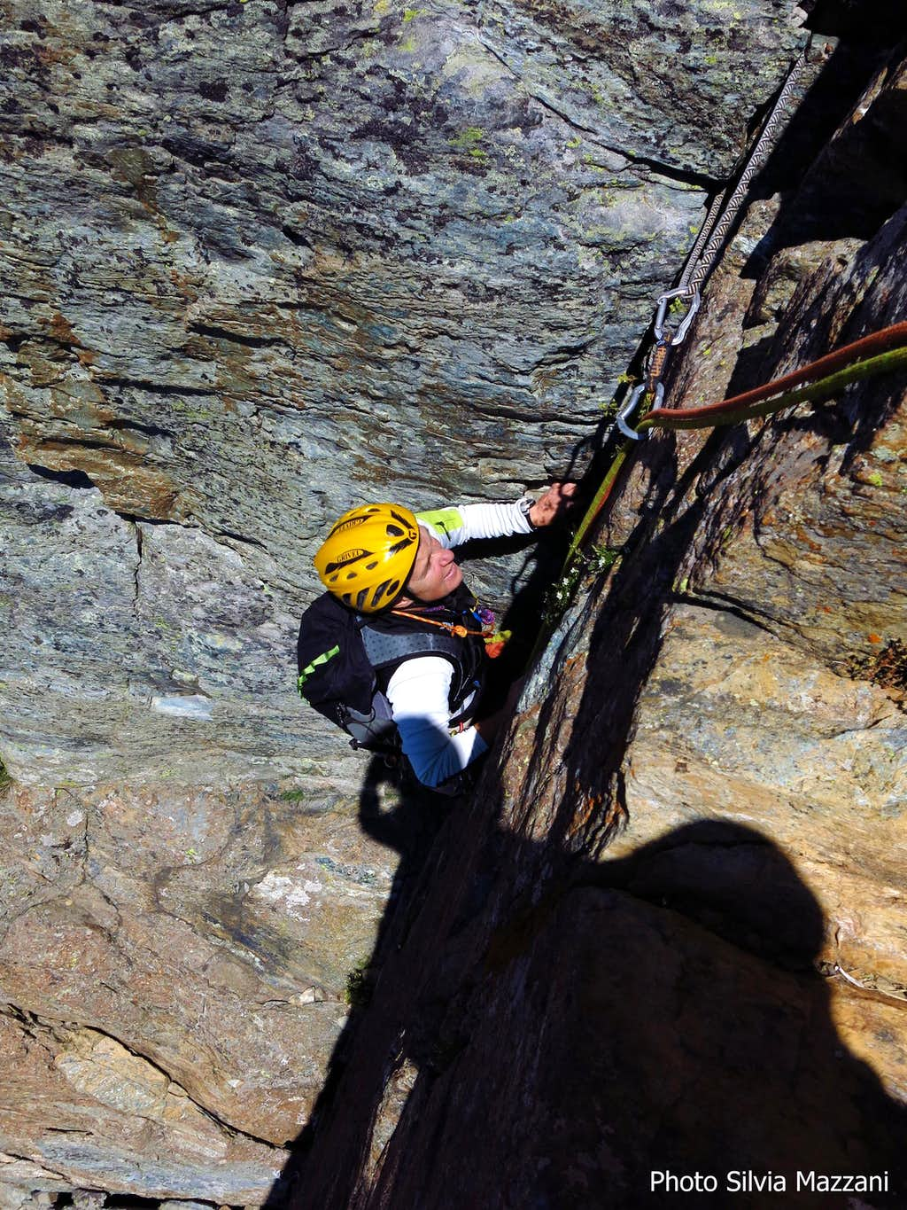 Climbing a dihedral on Superbianciotto route, Cristalliera